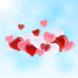 Valentines hearts in the sky Stock Images