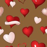 Valentines hearts vector seamless pattern background repetitive textile paint. Happy Valentines day red, scarlet and pink hearts vector seamless pattern vector illustration