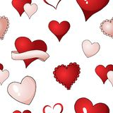 Valentines hearts vector seamless pattern background repetitive textile paint. Happy Valentines day red, scarlet and pink hearts vector seamless pattern stock illustration