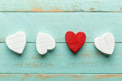 Valentines hearts. On wooden background Stock Photo
