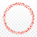 Valentines hearts wreath on transparent background with copy spa Royalty Free Stock Photography