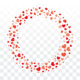 Valentines hearts wreath on transparent background with copy spa Royalty Free Stock Photos