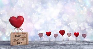 Valentines heureuses avec le fond de carte de voeux de coeur Photos libres de droits