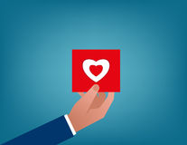 Valentines. Holding red heart card. Concept business illustration. Vector flat Stock Photography