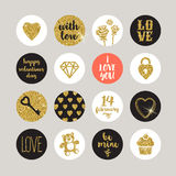 Valentines holiday set. Glitter gold design elements and lettering Stock Photography
