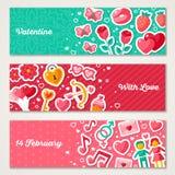 Valentines Horizontal Banners Set Royalty Free Stock Image