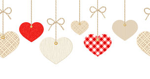 Valentines horizontal seamless background with hanging hearts. Royalty Free Stock Photography