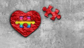 Valentines Inside Love. And valentine love symbol as diversity dating and romantic relationship as a puzzle piece with a rainbow on a red heart as a 3D vector illustration