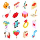 Valentines isometric 3d icons set. Isolated on white background Stock Images