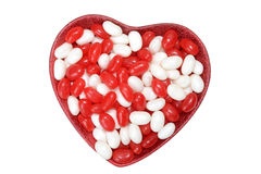 Valentines jelly bean in heart bowl. Isolated valentines jelly bean in heart bowl stock images