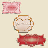 Valentines labels. Labels Valentines Day on a beige background Royalty Free Stock Images