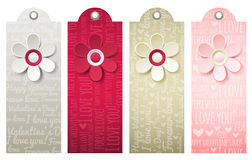 Valentines  labels with decorative flower, vector Royalty Free Stock Images
