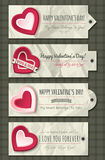 Valentines  labels with  decorative hearts Stock Photos