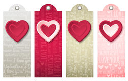 Valentines  labels with  decorative hearts, vector Royalty Free Stock Images