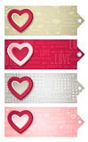 Valentines  labels with  decorative hearts, vector Stock Photos