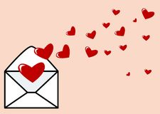 Valentines letter. Abstract vector of an envelope with hearts Royalty Free Stock Photo