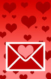 Valentines Letter. Hearts royalty free illustration
