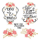 Valentines lettering  floral set. Happy valentines day and weeding design elements. Vector illustration. Lettering design with flowers,  branches, doodles and Royalty Free Stock Photography
