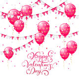 Valentines lettering with pink balloons and pennants. Valentines background with pink balloons, pennants and confetti, lettering Happy Valentines Day Stock Images