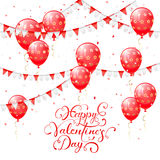 Valentines lettering with red balloons and pennants. Valentines background with red balloons, pennants and confetti, lettering Happy Valentines Day, illustration Stock Photo