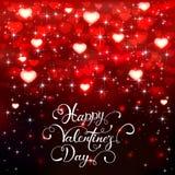 Valentines lettering and red hearts on dark background Lizenzfreie Stockfotografie