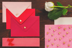 Valentines letters and rose. On the table stock photo