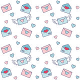 Valentines and letters with wings. Romantic seamless vector pattern for Valentine's Day or wedding. Stock Photography
