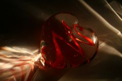 Valentines light. Valentines heart with glass. 2010 Royalty Free Stock Photos