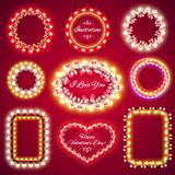 Valentines Lights Frames with a Copy Space Set1 Royalty Free Stock Photography