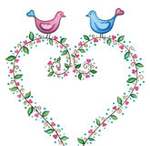 Valentines love birds with floral heart. Cute birds in love standing on a heart wreath. Watercolor illustration vector illustration
