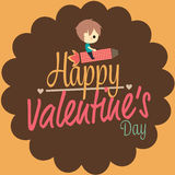 Valentines love card boy ride rocket. Cute vector Royalty Free Stock Image