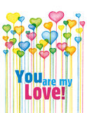 Valentines love card design. Colorful Balloon hearts. You are my love greeting card. Watercolor digital art stock illustration