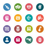 Valentines and Love Color Icons. A collection of different kinds of valentines and love color icons. It contains hi-res JPG, PDF and Illustrator 9 files stock illustration