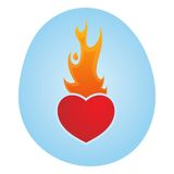 Valentines Love Heart. Valentines Day - Love Heart On Fire - Illustration Royalty Free Stock Images