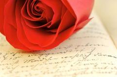 Valentines love letter. Red rose on vintage letter in German stock images