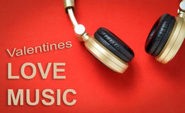 Valentines Love song Music headphone. Royalty Free Stock Photos