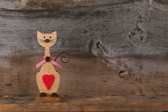 Valentines Love Wooden Cat Shape With Red Heart Decoration Stock Photo