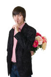 Valentines Man with flowers Stock Images