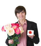 Valentines Man with flowers and gift Stock Image