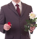 Valentines Man with flowers and gift Stock Images