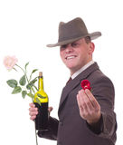 Valentines Man with flowers and gift Stock Photo
