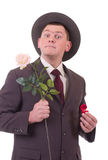 Valentines Man with flowers and gift Royalty Free Stock Photo