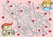 Valentines Maze Game Stock Photo