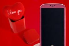 Valentines message - Pink Smartphone Stock Image