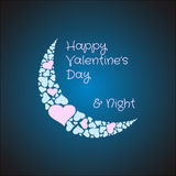 Valentines moon made from hearts. Love night. Valentines card background with the moon made from hearts. Love night concept. Vector illustration Stock Photo