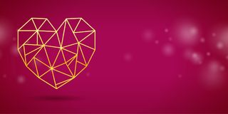 Valentines, Mothers or Wedding Day banner with gold triangle h Stock Image
