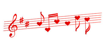 Valentines musical background - vector illustration Stock Images