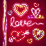 Valentines Neon Hearts Royalty Free Stock Image