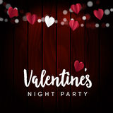 Valentines night party card, invitation. String of lights, paper hearts and old wooden background. Vector illustration Stock Images