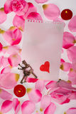 Valentines note with keys Royalty Free Stock Image